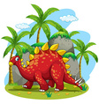 Dinosaur walking in the field vector image vector image