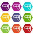 diving mask snorkel icons set 9 vector image