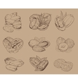 engraved nuts isolated set mixed nuts vector image vector image