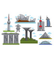 famous modern futuristic landmarks isolated vector image vector image