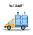 fast delivery promo poster with trunk that carries vector image vector image