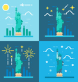 Flat design 4 styles of statue of liberty vector image vector image