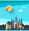 flat design city with skyscrapers urban landscape vector image vector image