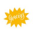 gracias calligraphy spanish translation of vector image vector image