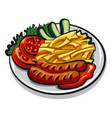 grilled sausages vector image vector image