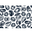 hand drawn edible marine mollusks seamless vector image