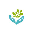 hands holding plant logo environment nature vector image