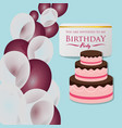 happy birthday card invitation cake balloons vector image