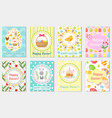 happy easter greeting card collection flyer vector image vector image