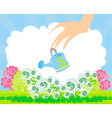 Human hand with a pot watering growing money vector image
