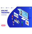 isometric online video training webinar vector image vector image