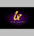 lx l x 3d gold golden alphabet letter metal logo vector image vector image