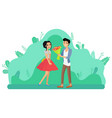 man giving girl flower bouquet couple dating vector image vector image