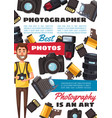 professional photographer camera film equipment vector image vector image