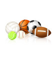realistic sport balls vector image vector image