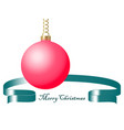 red christmas ball on golden chain with green vector image vector image