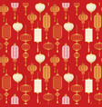 red gold chinese lantern outline seamless pattern vector image vector image