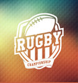 rugby championship logo sport vector image vector image