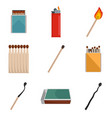 safety match ignite burn icons set isolated vector image