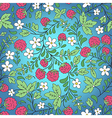 seamless raspberry and green leaves vector image