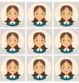 Set of cartoon girls head vector image vector image