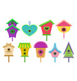 set of colorful birdhouses nesting boxes for vector image vector image
