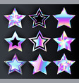 set of holographic stars vector image