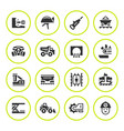 set round icons of mining vector image vector image