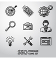 set seo handdrawn icons - target with arrow vector image