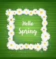 square hello spring floral frame with vector image