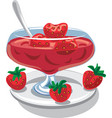 strawberry jam in jar vector image