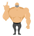 Strong man in jeans with big muscles shows vector image