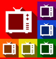 tv sign set of icons with vector image vector image