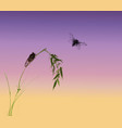 two cicadas and green bamboo branch on sunrise vector image vector image