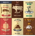 Vintage Steak House Posters Set vector image