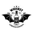 whiskey bottle with bat wings emblem logo vector image
