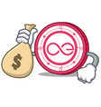 with money bag aeternity coin character cartoon vector image vector image