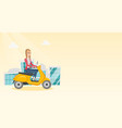 young caucasian woman riding a scooter vector image vector image