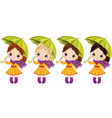 cute little girls with umbrellas vector image