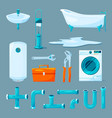 toilet and bathroom furniture pipe and different vector image