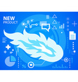 bright fire on blue background for banner w vector image