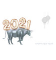 2021 numbers in chinese style with ox happy new vector image