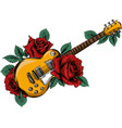 abstract guitar with red rose vector image vector image