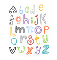 Abstract hand-drawn color doodle alphabet vector image