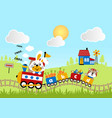 animals cartoon journey with train on landscape