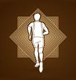 athlete runner running back view vector image vector image