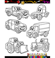 cartoon vehicles set for coloring book vector image vector image