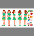 cheerleaders girls set different poses vector image