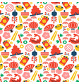 chinese culture icon flat cartoon seamless pattern vector image