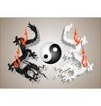 chinese dragons yin and yang vector image vector image